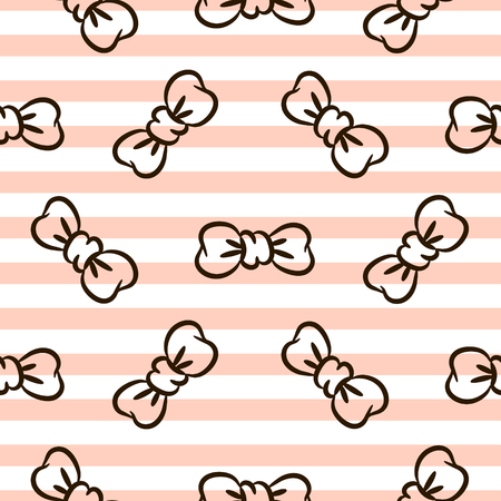 Bowknots on striped pink and white seamless vector pattern. Stock Vector - 76695234