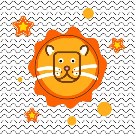 Cute lion head t-shirt vector print design. Tee design on wavy background for kid apparel.
