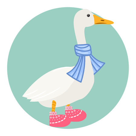 Cartoon duck in scarf isolated on white vector illustration. Çizim