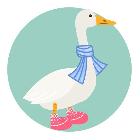 Cartoon duck in scarf isolated on white vector illustration. Illustration