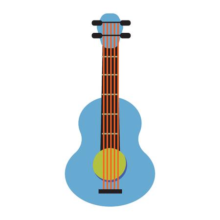 Pop art guitar cartoon vector illustration.