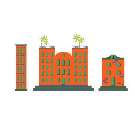 lodgings: Hotel buildings vector cartoon flat set.