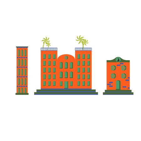 Hotel buildings vector cartoon flat set.