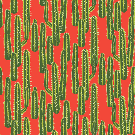 Cactus plant vector seamless pattern. Abstract desert nature fabric print. Çizim