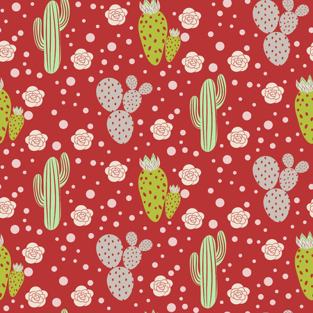 Cactus desert vector seamless pattern. Green and grey nature fabric print texture. Green mint cacti on red for wallpaper and textile apparel. Illustration