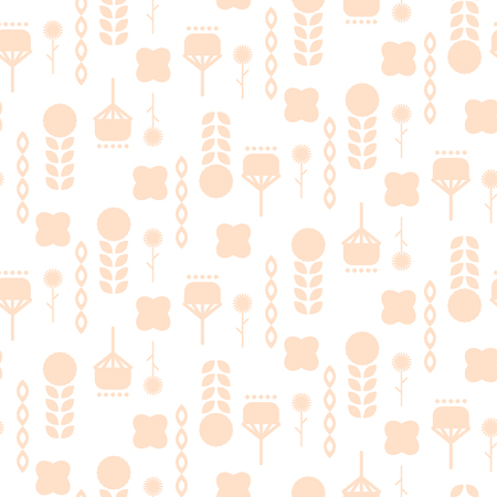 folkstyle: Scandinavian folk pale pink floral art pattern seamless vector. Illustration
