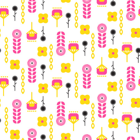 Scandinavian folk floral art pattern.