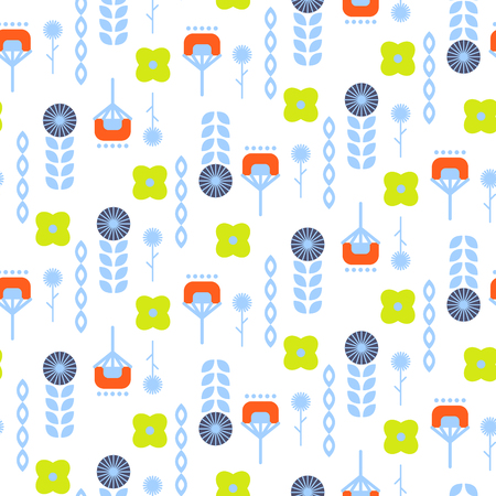 Abstract folk floral art pattern . Bright blue and green flowers for print on textile. Illustration