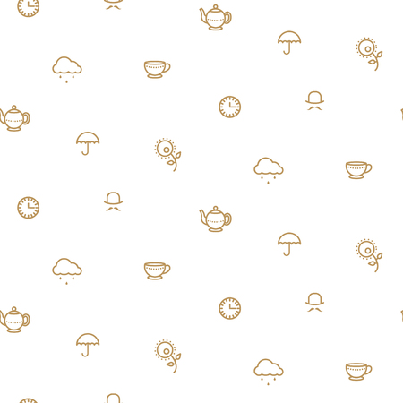 o'clock: English tea party simple gold on white line icons vector pattern. Teapot, cup, umbrella and clouds seamless background.