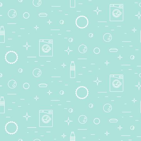 Washing machine and soap bubbles thin line seamless pattern.