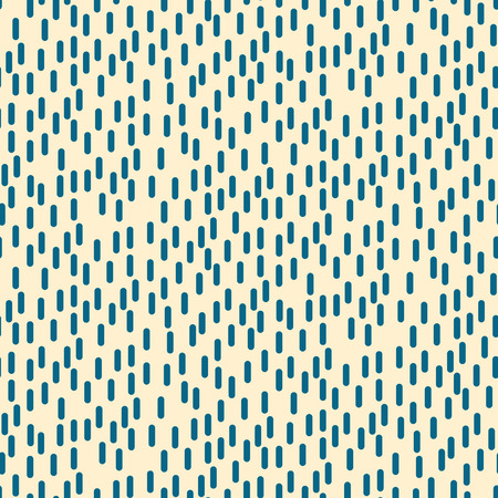 Small rectangle rain particles seamless vector pattern. Blue on beige basic geometric abstract repeat background. Illustration