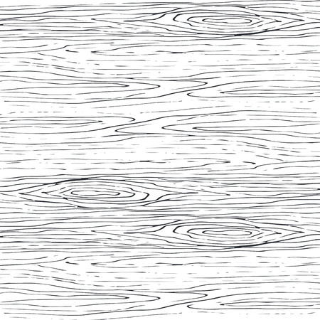 A Seamless wood grain gray pattern. Wooden texture light curve vector background. Ilustração
