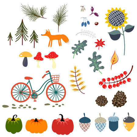 Autumn fall clip art vector illustrations.