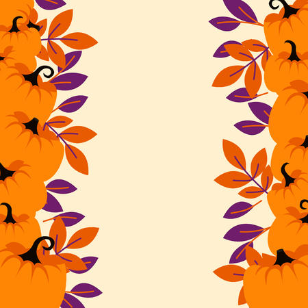Orange pumpkins on peach light border background flyer template. Stock Photo