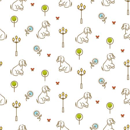 산책로 원활한 벡터 패턴에 귀여운 강아지입니다. 일러스트