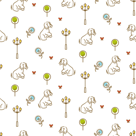 Cute dog on a promenade seamless vector pattern.