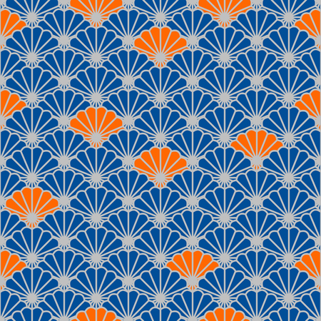Japanese fan vector seamless pattern in blue and orange color style.