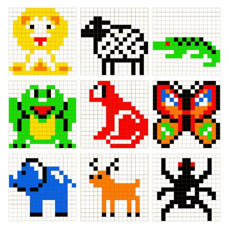 schemes: Pixel art animals vector set.