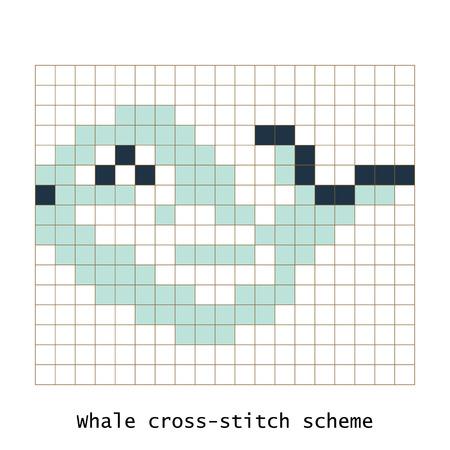 schemes: Cross-stitch pixel art butterfly whale animal vector set.