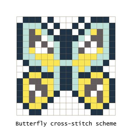 schemes: Cross-stitch pixel art butterfly vector set.