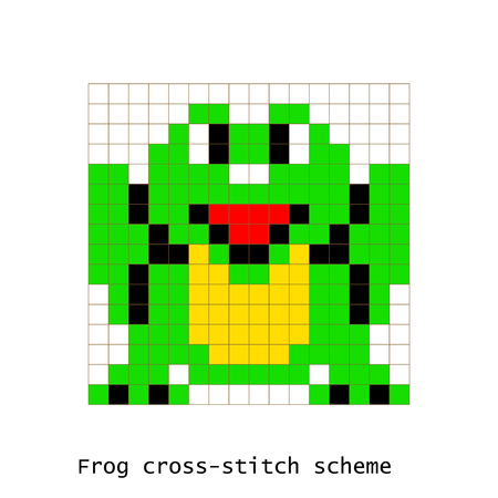 schemes: Cross-stitch pixel art frog animals vector set.