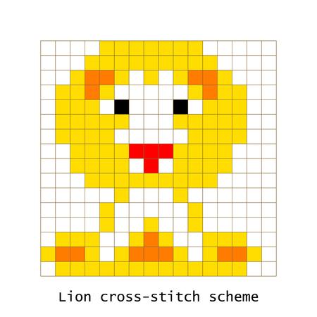 punto de cruz: Conjunto de vectores de animales de león pixel art de punto de cruz.