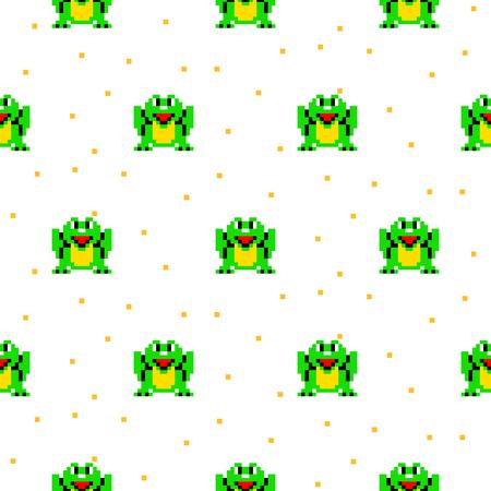 schemes: Green frog cartoon pixel art seamless pattern.