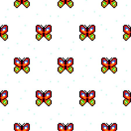 schemes: Bright butterfly cartoon pixel art seamless pattern. Illustration