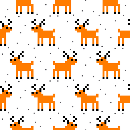 schemes: Cute deer cartoon pixel art seamless vector pattern. Funny kid animal repeat background for textile and wallpaper design.