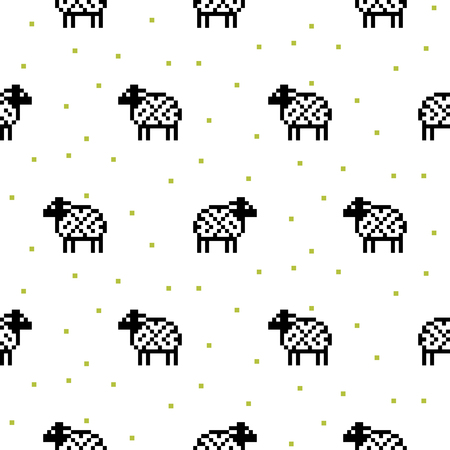 schemes: Sheep black and white cartoon pixel art seamless vector pattern. Funny kid animal repeat background for textile and wallpaper design. Illustration