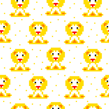 schemes: Yellow lion cartoon pixel art seamless vector pattern. Funny kid animal repeat background for textile and wallpaper design. Illustration