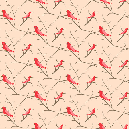 Birds on branches pattern. Illustration