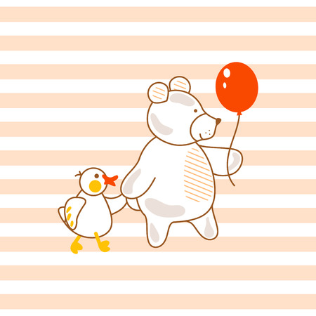white fabric texture: Cute bear and duck with balloon design print. Illustration