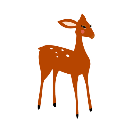 Deer cartoon vector isolated illustration. Fawn on white background.