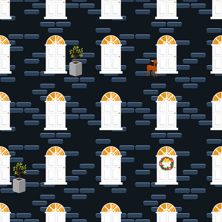Doors seamless vector pattern and blue brick wall building. Deers and plants decor dark background.