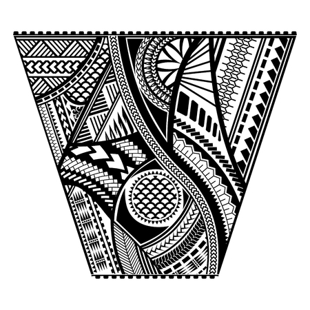 Polynesian tattoo style sleeve vector design. Trapeze shape mayan body art black stencil template. Vettoriali