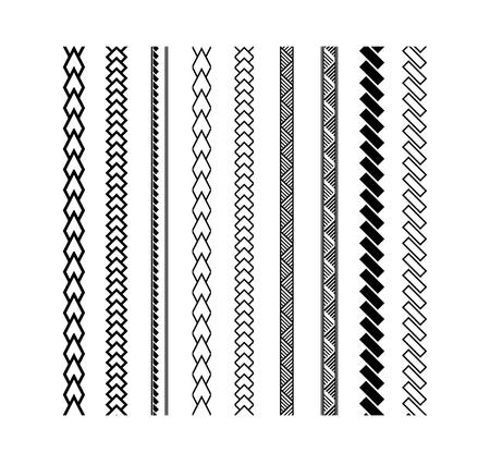 폴리네시아 문신 스타일 브러쉬 벡터 디자인입니다. 검은 색 테두리 선 브러시 스트로크.