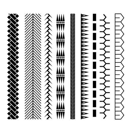 Polynesisches Tätowierungsartbürsten-Vektordesign. Nahtlose Linie Bürstenstrichschablone der schwarzen Grenze. Standard-Bild - 89042819