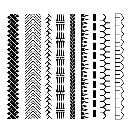 Polynesian tattoo style brush vector design. Black border seamless line brushstroke template.