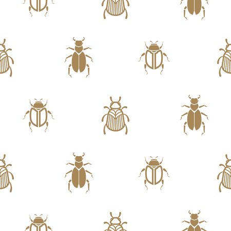 insect  gold and white vector seamless pattern for print. Simple insect background. Illustration