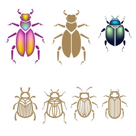 Käfervektor-Illustrationssatz. Umreißen Sie Art Goldwanzen Und ...