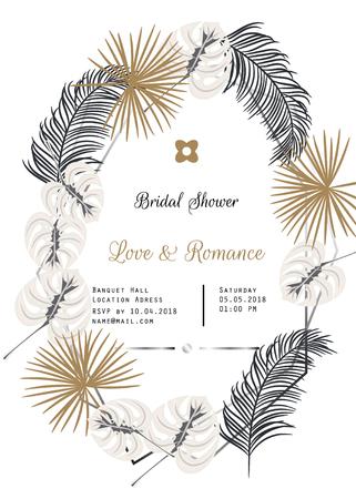 Bridal shower tropic leaves vector template design.