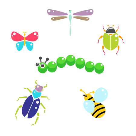 Cartoon insects colorful vector set on white. Bee, beetles, butterfly and caterpillar.
