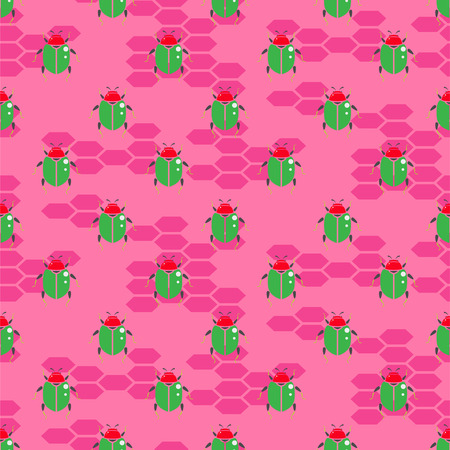 Green insect on bright pink vector seamless pattern for print. Cartoon kid insect background. Illustration
