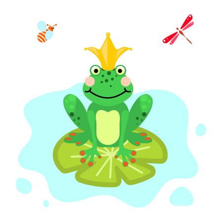 Frog prince cartoon green clip-art isolated vector.