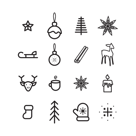 New year simple vector icon set.