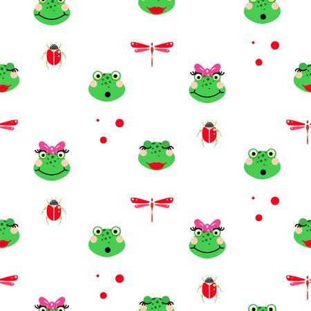 Frogs cartoon green seamless vector pattern.