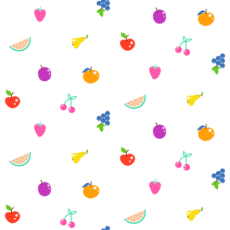 Bright summer juicy fruit cartoon seamless pattern. Stock Photo