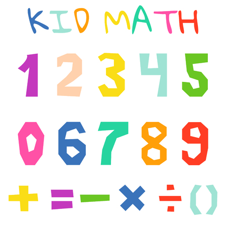 Kid math numerals and count bright signs vector isolated. Fun colorful cutout numbers.