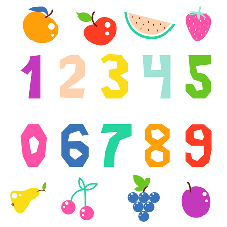 Kid math numerals and fruits bright signs vector isolated. Fun colorful cutout numbers. Illustration